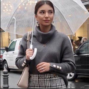 Zara Charcoal Funnel Cowl Neck Pearl Cuff Sweater